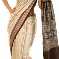 Handwoven Gray Bomkai Sari with Woven Bootis and Rudraksha Border