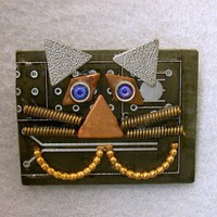 Recycled Black CIRCUIT BOARD Cheshire CAT Brooch Vintage Metal