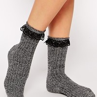 ASOS Mix Knit Ankle Socks With Lace Trim at asos.com