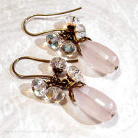 Rose Quartz and Crystal Cluster Earrings - Pink Gemstone Dangle Earrings - Vintage Look Antique Brass Handmade Jewelry