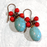 Red Blue and Brown Gemstone Cluster Earrings - Magnesite &amp; Red Stone Dangle Earrings - Vintage Look Antique Brass Handmade Jewelry