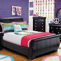 Miranda Twin Black 5Pc Sleigh Bedroom
