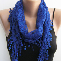 15% SALE Lace scarf, electric blue summer scarf