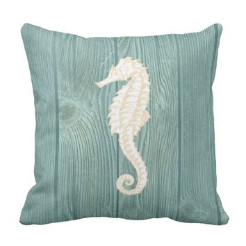 Sea Horse Cream Vintage Aqua Wood Pillow
