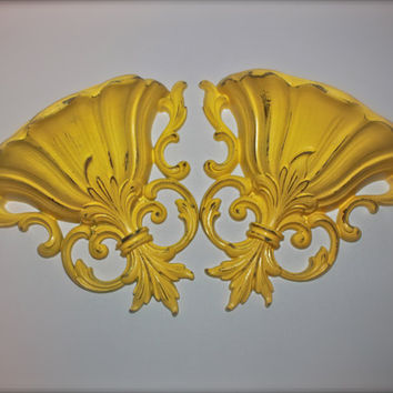 Wall Pocket Sconce/ Yellow /Distressed Ornate Planter/ Painted Room Decor/ Bright Up Cycled Fixture