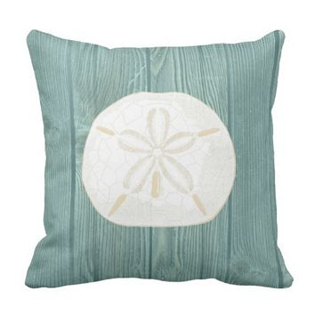 Sand Dollar Cream Vintage Aqua Wood Pillow