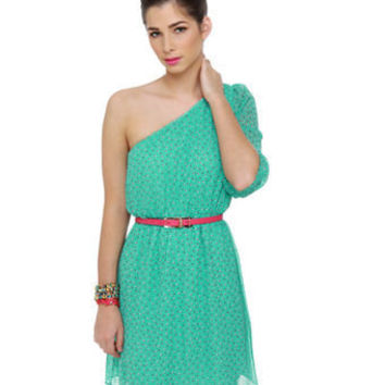 Cute One Shoulder Dress - Mint Dress - Print Dress - $43.00