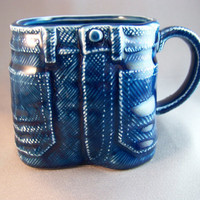 Vintage Blue Denim Jeans Ceramic Coffee Mug Tea Cup Bens Inc.
