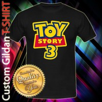 Toy Story 3 Logo Disney Pixar Custom Black T-Shirt Size S-2XL