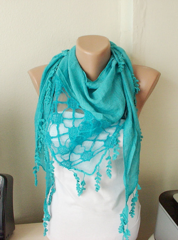 NEW 2012 Spring Model Turquoise  Cotton Scarf with Pine leaf tassel Lace