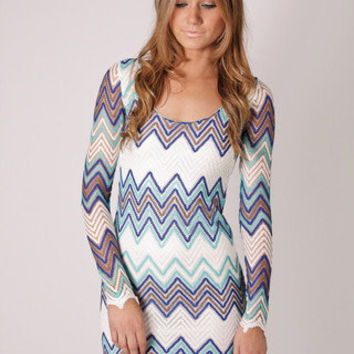 mission zig zag print tunic dress- blue at Esther Boutique