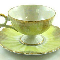 LEFTON CHINA #20336 Yellow Iridescent Rose TEA CUP & SAUCER Gold Trim