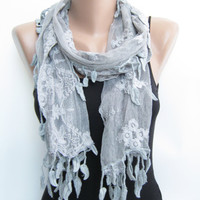15% SALE Gray tulle scarf, summer scarf, leaves lace scarf