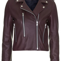 Neat Leather Biker Jacket by Boutique - Burgundy