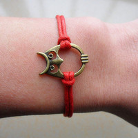 Bangle owl wrist bracelet rope bracelet women bracelet girls bracelet made of red rope and bronze owl cuff  SH-1311