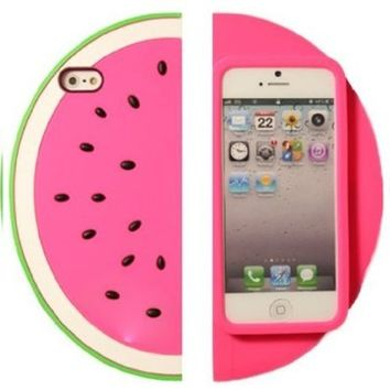 Hot Pink 3D Sector Pink Watermelon Shape Soft Silicone Protective Case for Apple Iphone 5 5S
