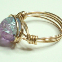 Purple Blue and Gold Crackle Wire Wrapped Ring SIZE 7
