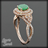 Cabochon Jade and Diamond Double Halo and Twisted Split Shank - LS1937