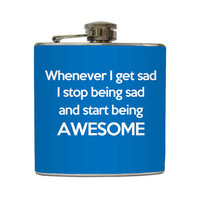 Funny Awesome Whiskey Flask Liquid Courage Groomsmen Guys Gift Stainless Steel 8 oz or 6 oz Liquor Hip Flask LC-1262