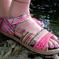 Colorful Embroidery &  Batik Ankle Strap Open Toe Mary Jane Espadrille Flat Vegan Shoe