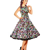 Floral Skulls Print 1950s Style Swing Dress