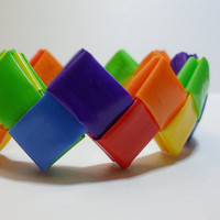 Bold Neon Chevron Bangle in Rainbow Splat - Ziggibandz
