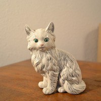 Shockingly Normal Looking Green-Eyed Pick Of The Litter Ceramic Cat