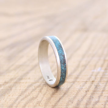 Women's band sterling silver wedding ring with crushed turquoise inlay