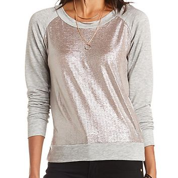 Metallic Long Sleeve Raglan Sweatshirt - Heather Gray