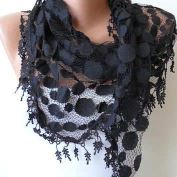 Black - Polka Dot Patterned Tulle Scarf with Black Trim