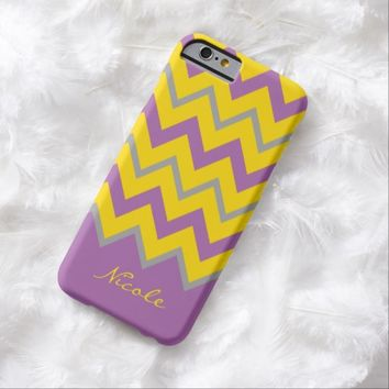 Violet gold chevron monogrammed iPhone 6 case