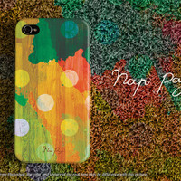 Apple iphone case for iphone iphone 5 iphone 5s iphone 5c iphone 4 iphone 4s iPhone 3Gs: polka dots with watercolor on wood (not real wood)