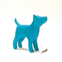 Dog terrier sculpture blue turquoise decoration hand made OOAK waz-O