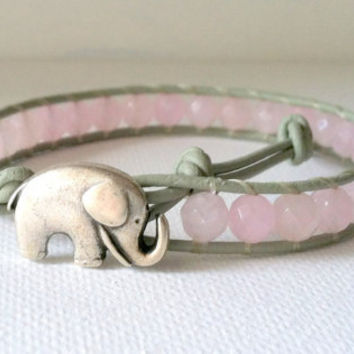 Elephant Leather Wrap Bracelet, Good Luck Charm, Dyed Pink Jade  Wrap Bracelet, Chan Luu Style, Elephant Button