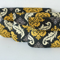Set of 3 - Wedding Clutch/ Bridesmaid Gift Damask in yellow and gray
