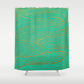 Wind Gold Turquoise Shower Curtain by Sandra Arduini | Society6