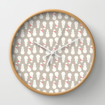 Christmas Snow Man Pattern Wall Clock by Allyson Johnson