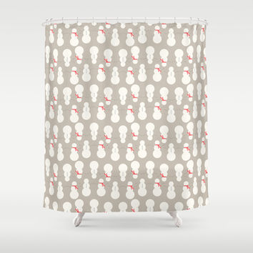 Christmas Snow Man Pattern Shower Curtain by Allyson Johnson