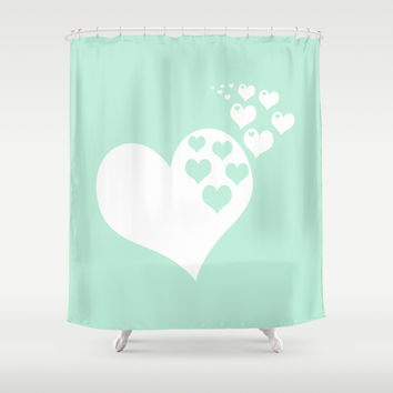 Mint White Hearts of Love Shower Curtain by BeautifulHomes