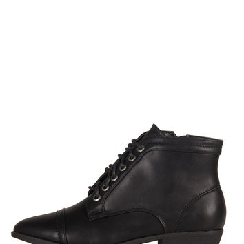 Leather Laced Up Pointy Ankle Boots - Black /