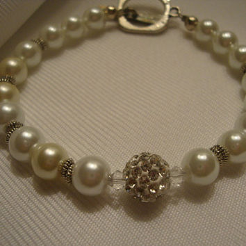 White Pearl Rhinestone Bracelet and Silver Clasp Yoyos Creative Jewelry Design's