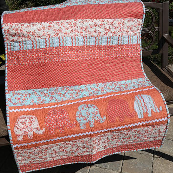 Elephant Baby Girl Quilt, Pink Elephants Quilt, Coral and Aqua Baby Quilt, Handcrafted Baby Gift