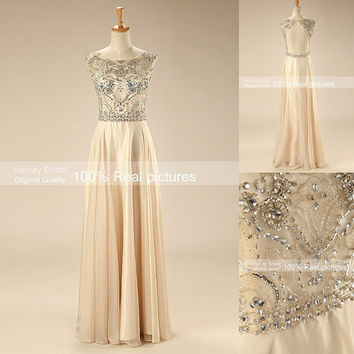Harvey Bridal KPR116 A-line Real Luxury Crystal Evening Dresses Beaded Backless Chiffon Sexy Long prom dresses 2015 New arrival