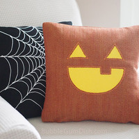 Jax the Jack o Lantern Pumpkin Pillow Cover Halloween Decor 18 x 18