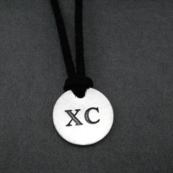 XC Round Pendant Self Tie Necklace - Pewter Charm on 3 Feet of Self Tie Micro Fiber Suede - Pewter Pendant with 36 inch micro fiber suede lace cord - Choose Your Color!