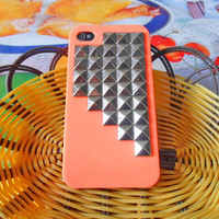 iPhone hard Case cover with silver pyramid for Apple iPhone 4 case,iPhone 4S case,iPhone 4GS case  SJK-1857