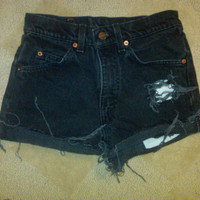 Black High Waisted Vintage Shorts