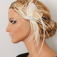 LEVINA bridal headpiece by portobello on Etsy