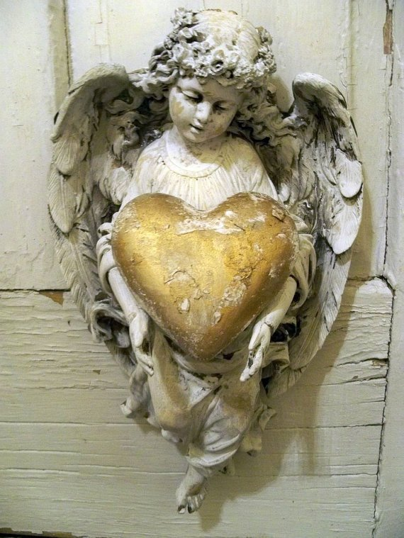 Shabby chic angel figurine wall decor holding golden heart ooak Anita Spero
