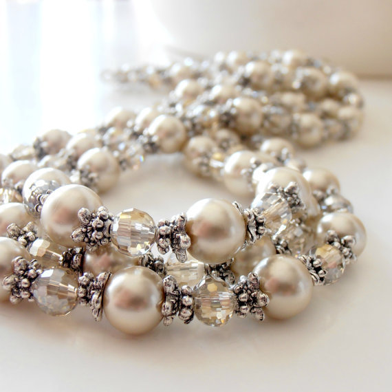 Wedding Jewelry Bridal Necklace Beige Pearl Champagne Crystal Antiqued Silver Beaded Multistrand Necklace Bridal Jewelry Pearl Necklace